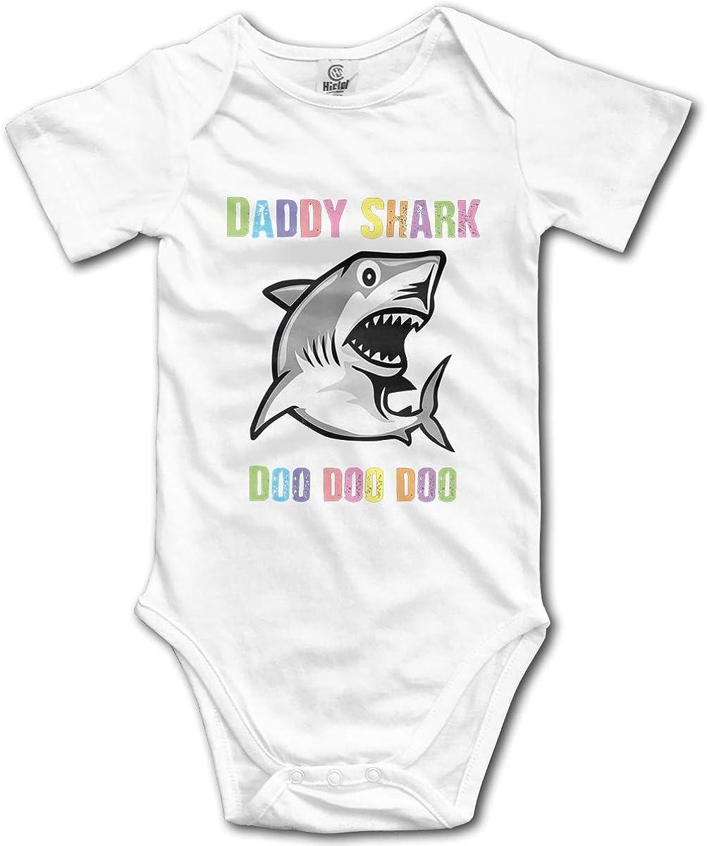 PORRO Unisex Baby Crew Neck Short-Sleeve Climbing Clothes Baby Shark Doo Doo Funny Crawling Clothes Black