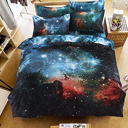 Greensha Queen Size 4pcs Bedding Set 3D Oil Print Galaxy Space with 100% Cotton (Included Bedlinen Duvet Cover + Flat Sheet + 2 Pillowcases) (A)