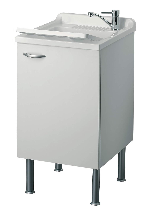 Mobile Lavatoio in Legno 45x50x85cm 1 Anta Forlani Cleanly Bianco