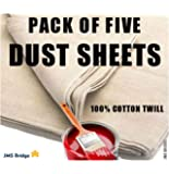 5 x DUST SHEETS 100% COTTON TWILL. Size : 12ft x 9ft. ***Pack of 5 Sheets***