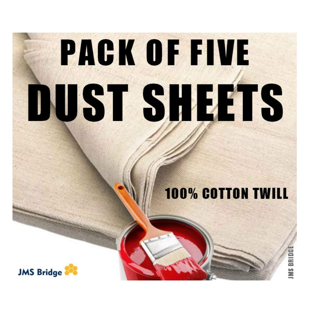 5 x DUST SHEETS 100% COTTON TWILL. Size : 12ft x 9ft. ***Pack of 5 Sheets*** JMS Bridge