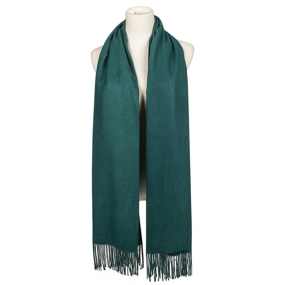 Colleer Pashmina Style Wrap Scarf Solid Colour Shawl Pure Cashmere - All Seasons(Green)