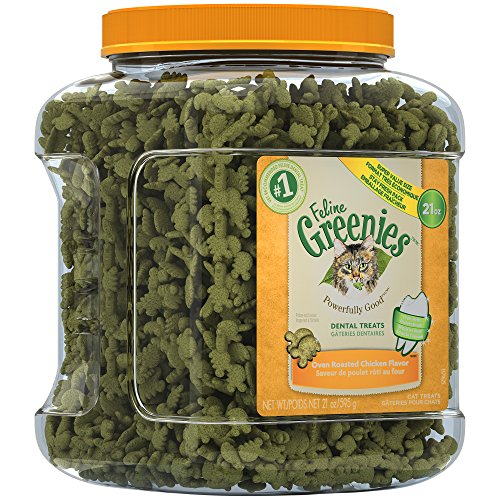 FELINE GREENIES Dental Natural Cat Treats Oven Roasted Chicken Flavor, 21 oz. Tub
