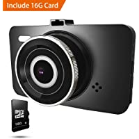 "Car Dash Cam 1080P Car DVR Dashboard Camera Recorder Full HD with 3"" LCD Screen 170°Wide Angle, WDR, G-Sensor, Loop Recording and Motion Detection"