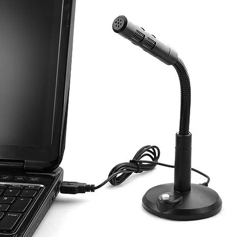 Amazon.com: eDealMax USB 2.0 Conector turística de cobertura Para celebran la conferencia de funcionamiento del ordenador portátil Micrófono Negro: ...