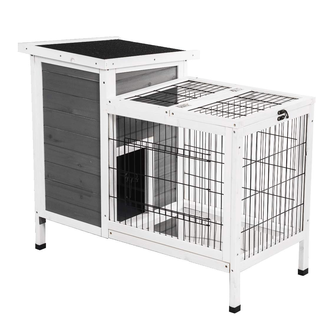 Good Life Wooden Outdoor Bunny Hutch Rabbit Cage Guinea Pig Coop PET House Gray & White Color PET502 by GOOD LIFE USA (Image #1)