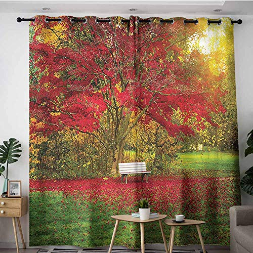 XXANS Sliding Door Curtains,Tree,Bench in The Park Maple Leaves,Curtains for Living Room,W120x96L