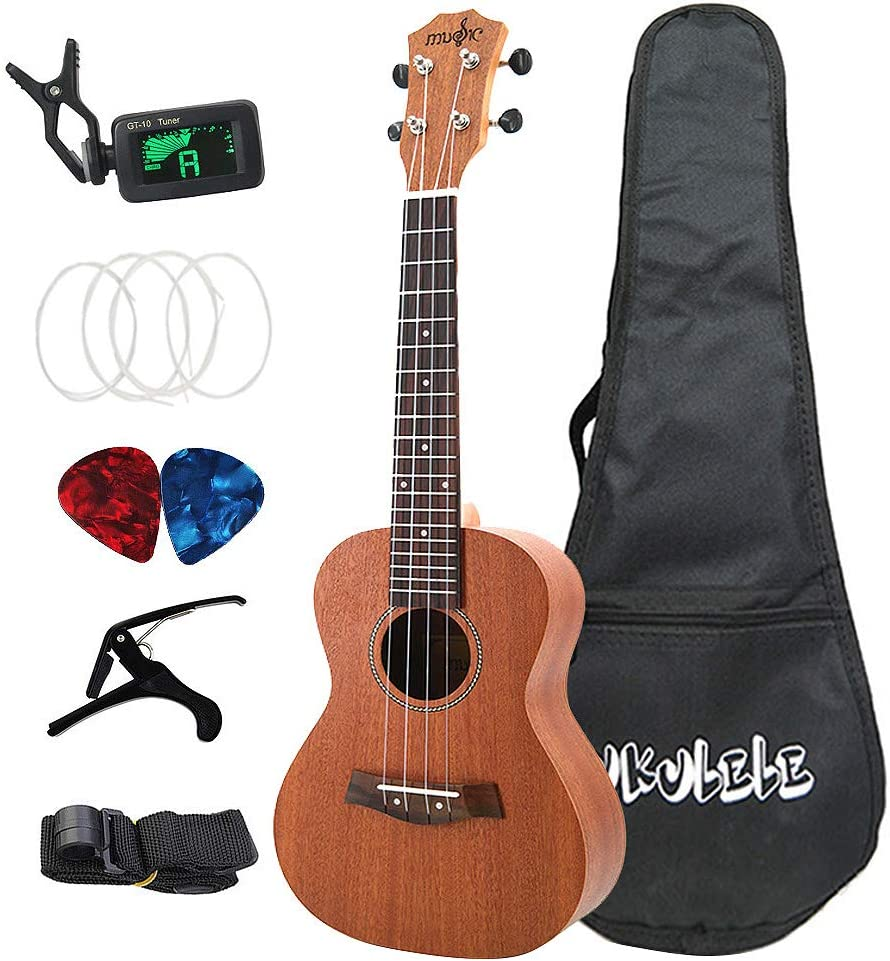 RETYLY Sapele Concert Ukulele Kits 23 Inch 4 Strings Hawaiian Guitar with Bag Tuner Capo Strap Stings Picks Musical Instrument