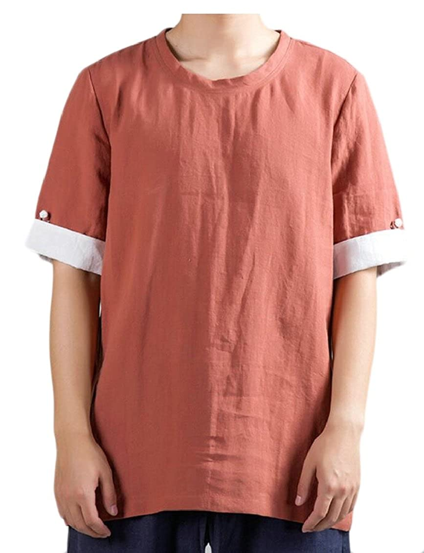 Qiangjinjiu Mens Casual Solid-Colored Linen Chinese Style Short Sleeve Top T-Shirts