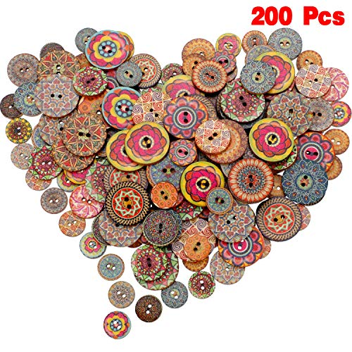 - 200 Pieces Wooden Decorative Buttons Mixed Round Flower Button with 2 Holes for Sewing Crafting (Style 1, 15 mm/ 20 mm/ 25 mm)