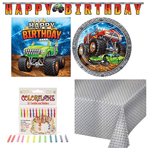 Olive Occasions Monster Truck Themed Paper Party Supplies 16 Dinner Plates, 16 Lunch Napkins, Happy Birthday Banner, Table Cover, ColorFlame Candles, Grandma Olive's Recipe