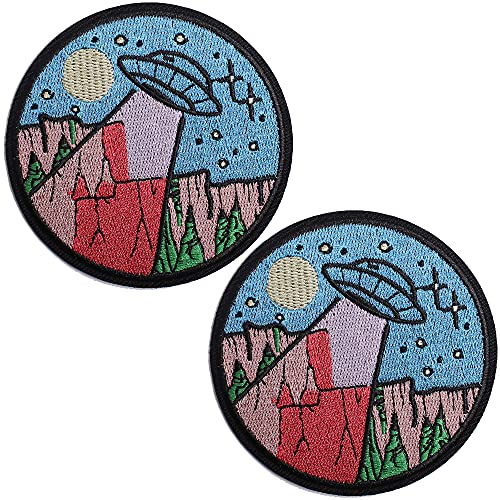 TACVEL UFO Embroidered Patches Iron on/Sew on Emblem Patches Applique for Jackets, Jeans, Backpacks, Caps