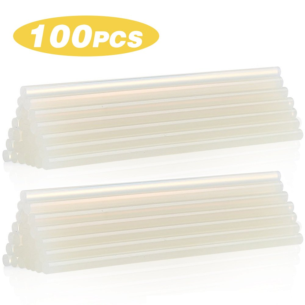 HXYTECH 100pcs Hot Melt Glue Stick Adhesive Stick, 7mm Diameter 100mm Length