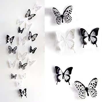 ElecMotive 36 PCS 3D Colorful Crystal Butterfly Wall Stickers with ...
