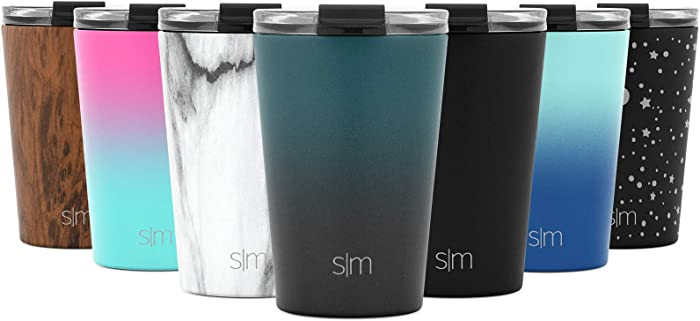 Simple Modern 12oz Classic Tumbler Travel Mug with Clear Flip Lid & Straw - Coffee Vacuum Insulated Gift for Men and Women Beer Pint Cup - 18/8 Stainless Steel Water Bottle Ombre: Moonlight