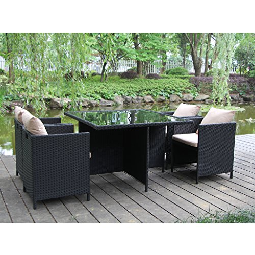 VIVA HOME The Home Patio Furniture Outside And Inside Garden Rattan Dining Set With 5PCS, Wicker Furniture Set (Dining Wicker Room Furniture)