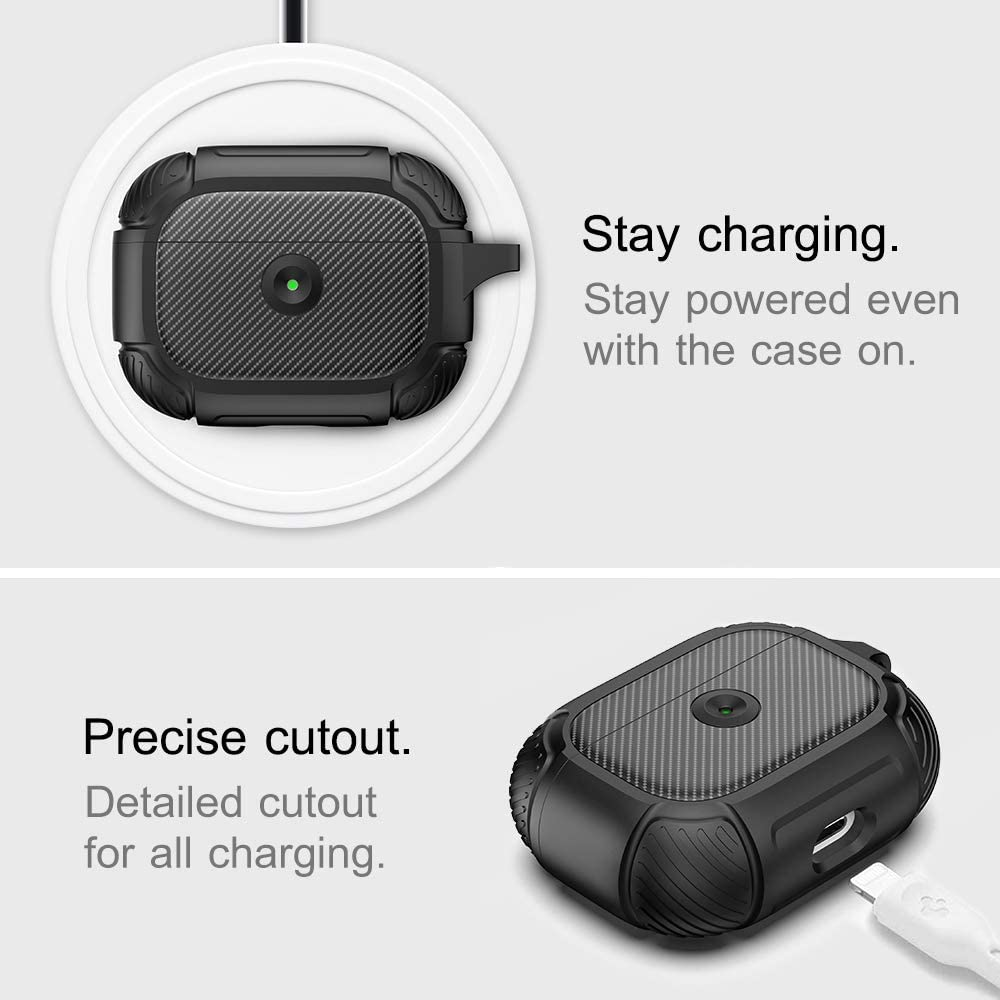 AmBand AirPods Pro Case Cover Rugged Armor Protective Silicone Cover Front LED Visible /& Supports Wireless Charging Resilient Shock Absorption Design Durable Airpod Pro Case Matte Black