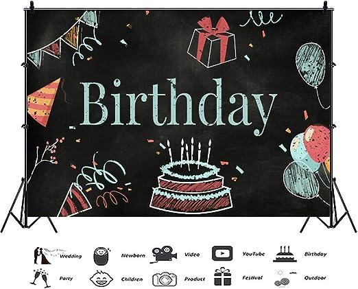 EdCott 10x7ft Cumpleaños Fotografía Fondo Pizarra Pastel cumpleaños Fiesta Gorras Globos Regalos Tiza Dibujo Ilustración Telón Fondo Fiesta cumpleaños Infantil Banner Aniversario Celebración: Amazon.es: Electrónica