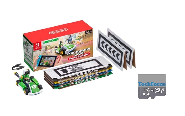 마리오 카트 라이브:스위치 루이지 에디션 홈 회로 마리오 세트 TECHFOCUS128GB MICROSD 카드와 함께 번들