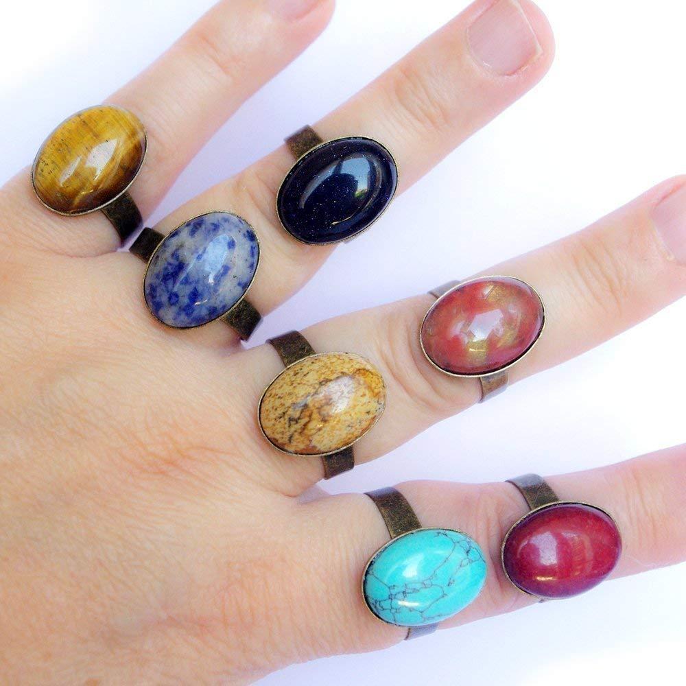 Bague pierre vé ritable femme simple ajustable bronze cabochon oval gemme pierres fines boheme boho chic : turquoise, agate, jaspe, sodalite, pierre de soleil