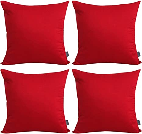 Amazon Com 4 Pack Cotton Solid Decorative Throw Pillow Case Square Cushion Cover Pillowcase Cover Only No Insert 18x18 Inch 45x45cm Red Home Kitchen