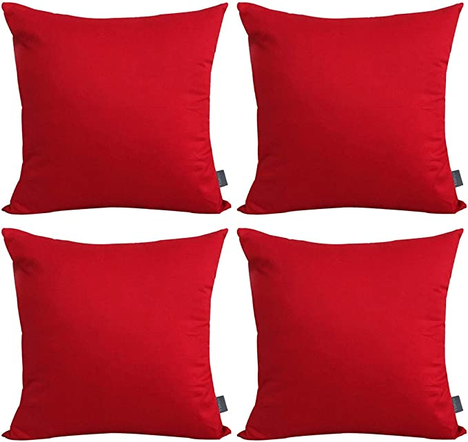 4 Pack Cotton Solid Decorative Throw Pillow Case Square Cushion Cover Pillowcase Cover Only No Insert 18x18 Inch 45x45cm Red Home Kitchen