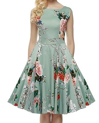 Damen Abendkleider Knielang Vintage Ärmellos Rockabilly Kleider ...