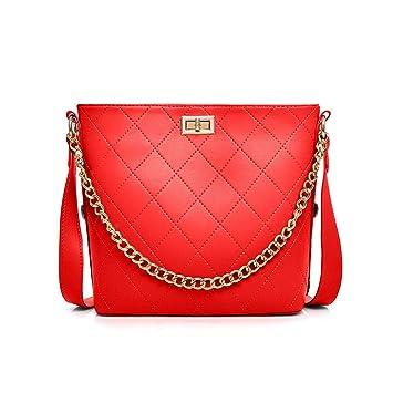 043e42e131fd0 Damen Handtasche Leder Schultertasche Vintage Kette Designer Tasche Groß  Umhängetasche für Frauen - Rot