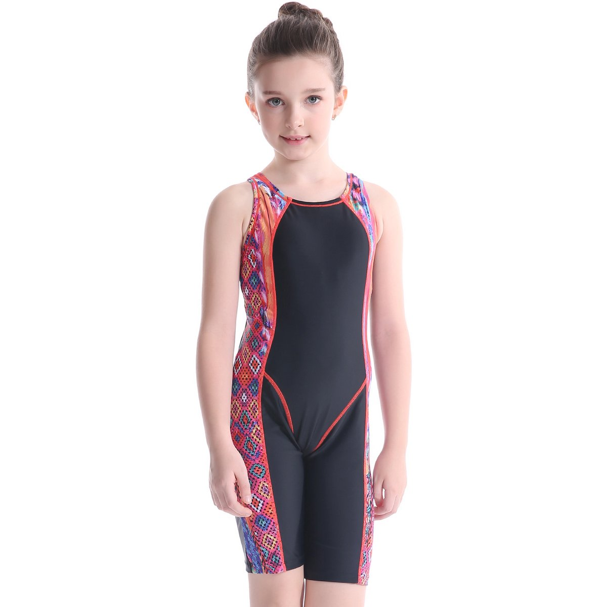 Peacoco Big Girls' Solid Splice Athletic One-Piece Swimsuits Racerback Competive Legsuit for 8-12 Years