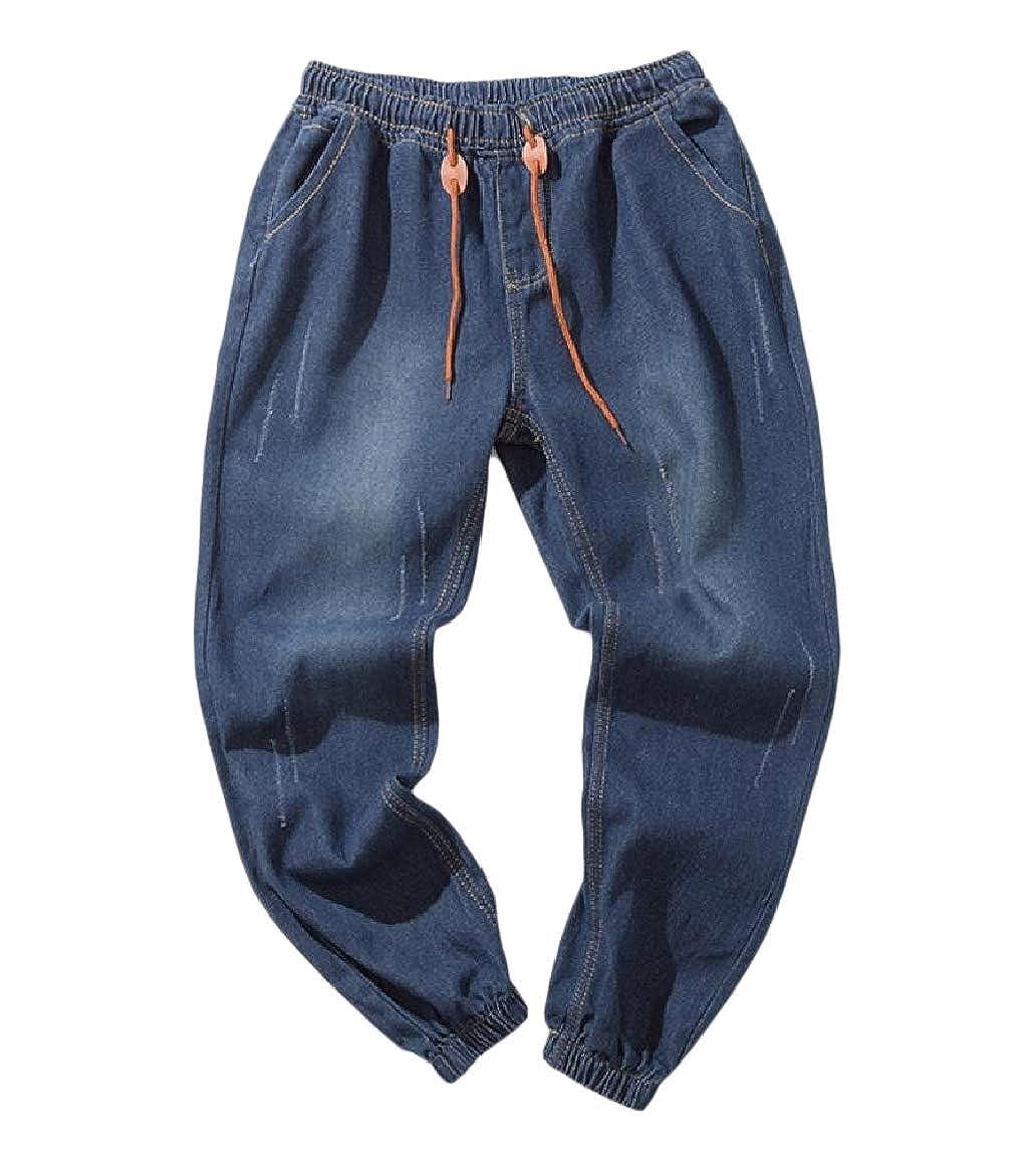Comaba Men Loose Fit Rugged Wear Vintage Wash Denim Juniors Jeans Pants