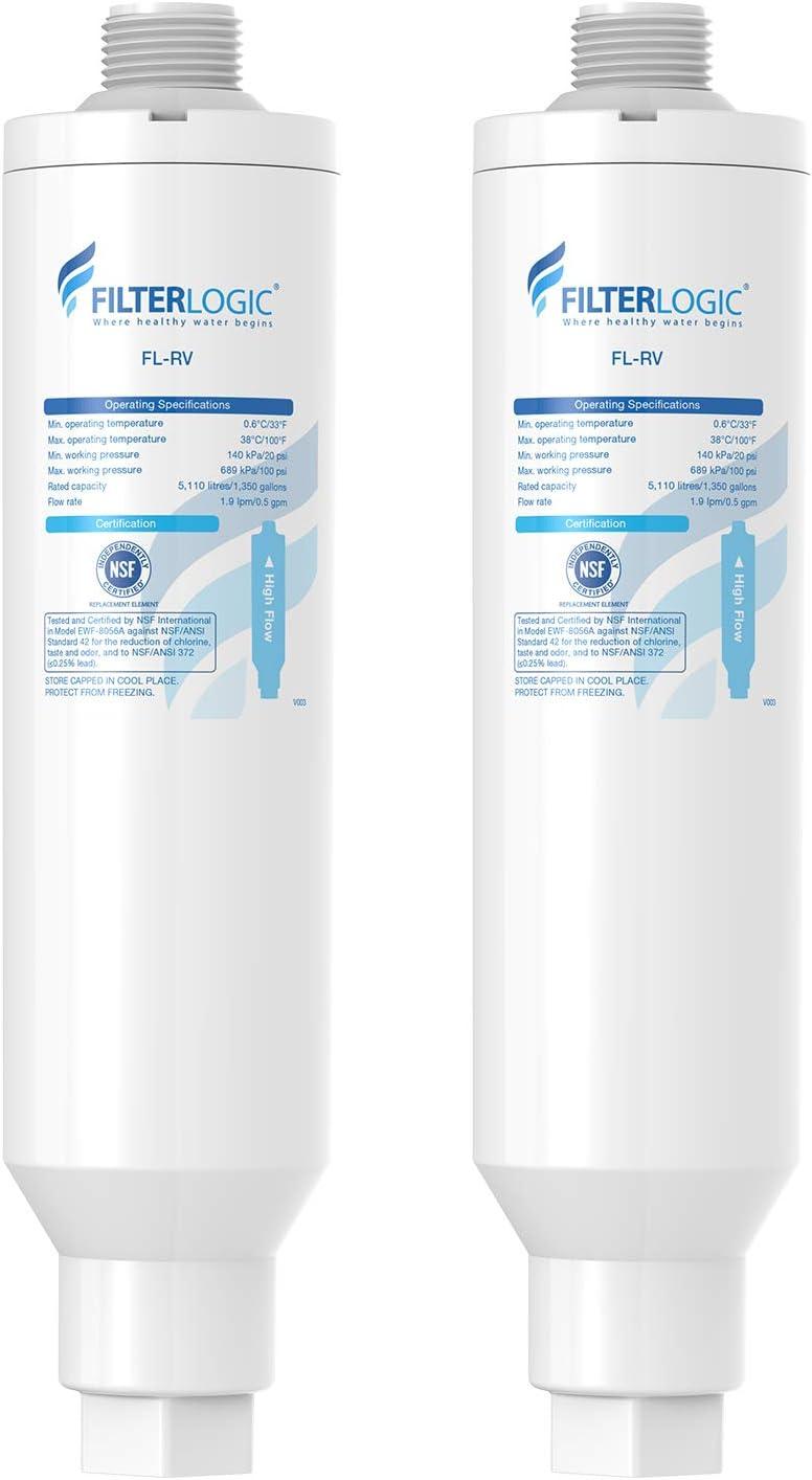FilterLogic 20 Micron 2 Pack RV Inline Water Filter