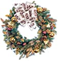 Pre-Lit Decorated Wreath Gold Berry & Ornament 30""