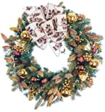30 in. Artificial Pre Lit LED Decorated Christmas Wreath-Gold Berry and Ornament decorations-100 super mini LED warm clear colored lights with timer and battery pack for indoor and outdoor use