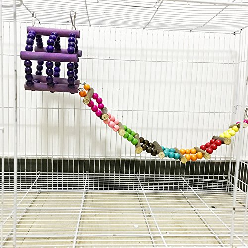 Hypeety Bird Cage Parrot Toys Wood Perch Climbing Ladder Toy Parrot Swings Wood Bridge Ladders Perches Stand for Small Birds Parakeet Cockatiel (A: Wood Swing Drawbridge) by Hypeety