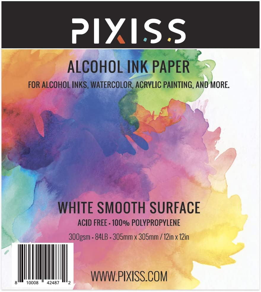 Alcohol Ink Paper 25 Sheets Pixiss Heavy Weight Paper for Alcohol Ink /& Watercolor 300gsm Synthetic Paper A4 12x12 Inches 305x305mm