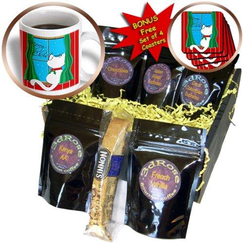 cgb_164794_1 Charlyn Woodruff - CW Designs Holidays - Christmas - Merry Christmas - Cute White Cat in Snowy Window - Coffee Gift Baskets - Coffee Gift Basket