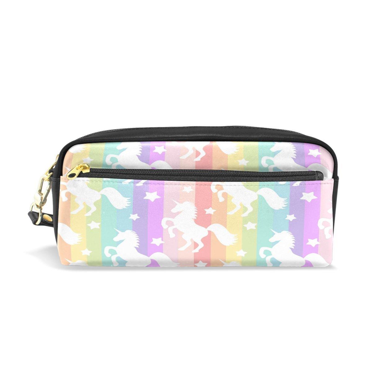 471995ecc53f Wamika White Unicorns On Rainbow Stripe Pencil Case Pen Zipper Bag ...