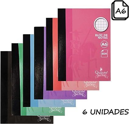 Quijote Paper World Pack 6 Bloc Notas, Libreta, Cuaderno, Interior Cuadros 4x4mm, A6, 80H de 60Gr para Uso Escolar, Oficina, Trabajo, etc.: Amazon.es: Oficina y papelería