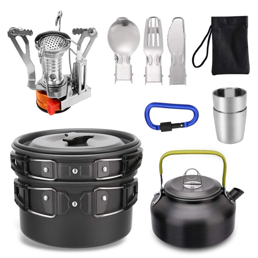 Lion 12pcs Camping Cookware Mess Kit,Lightweight Pot Pan Kettle with 2 Cups for Outdoor Camping Backpacking Hiking Picnic by Lion