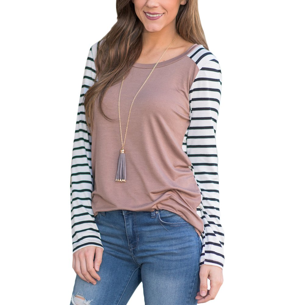 Women's Fashion Color Block Long Sleeve Casual Blouse Striped Baseball T-Shirt Tunic Tops