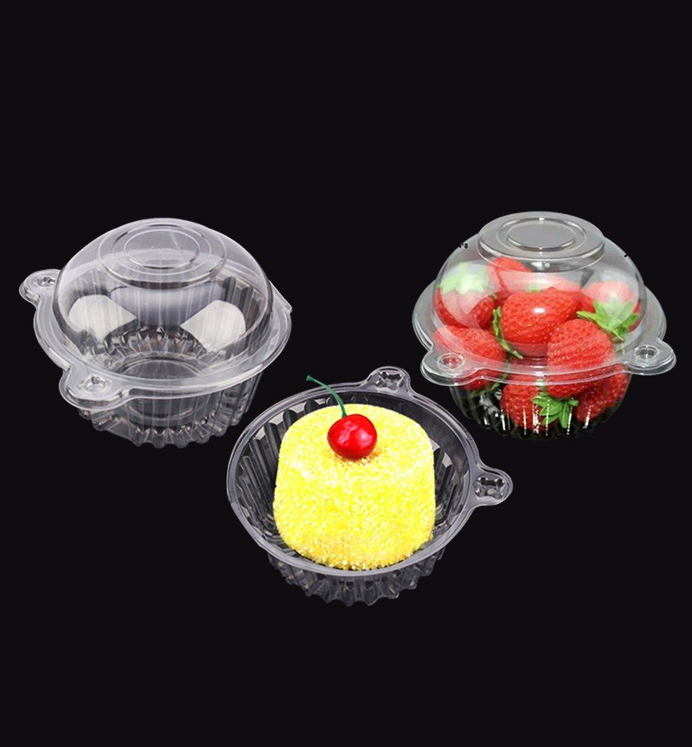 Individual Plastic Cupcake Boxes, 100pcs Single Clear Plastic Cupcake Pod Cake Muffin Box Mini Cat Head Cupcake Container Estink