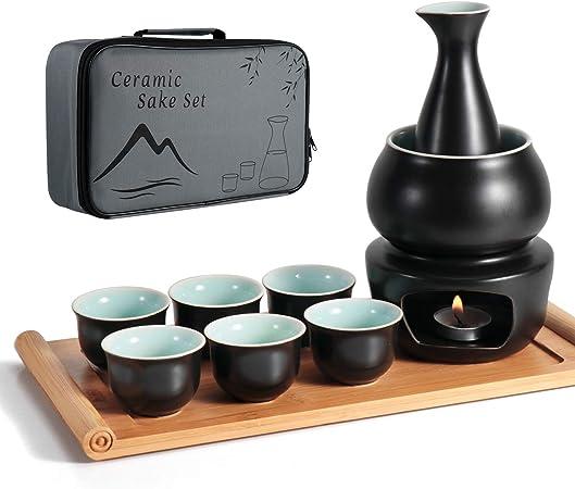 Dltsli Ceramic Sake Set with Warmer Pot Bamboo Tray, Stovetop Porcelain Pottery Hot Saki Drink Bottle, 10pcs Set 1 Stove 1 Warming Bowl 1 Sake Bottle 1 Tray 6 Cup Keep Sake Storage Gift Box