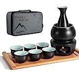 Dltsli Ceramic Sake Set with Warmer Pot Bamboo Tray, Stovetop Porcelain Pottery Hot Saki Drink Bottle, 10pcs Set 1 Stove 1 Wa