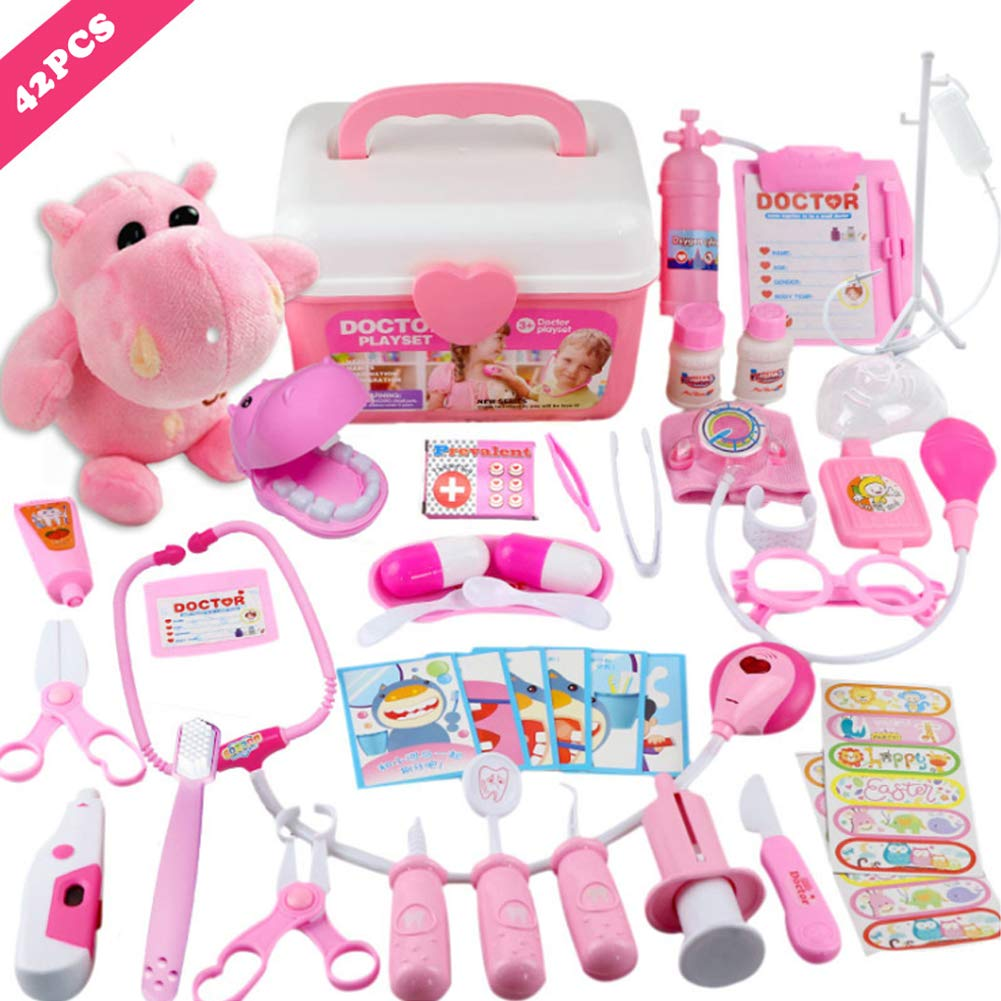 MorTime 42 Pcs Examine & Treat Pet Vet Play Set, Children's Medical Toy Set, Animal & People Play Sets, Helps Children Develop Empathy, Educational Equipment, Pink by MorTime