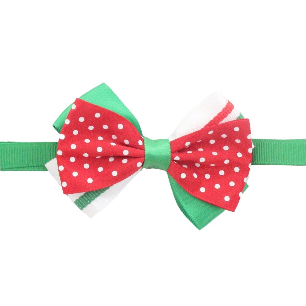 50PCs Dog Collar Handmade Bow Tie Wave Point Merry Christmas Dress up Small Medium Dog