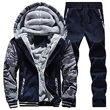 Manluodanni Men's Sport Fleece Jogsuit Set Tracksuit Thick Jacket and Pant