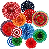 Anpro 12 PCS Paper Fans Decorations Colorful Party Fans with Clips Paper Mexican Supplies Party Hanging Fans Set for Birthday, Carnival, Wedding, Fans Party Supplies Home Decoration Various Sizes