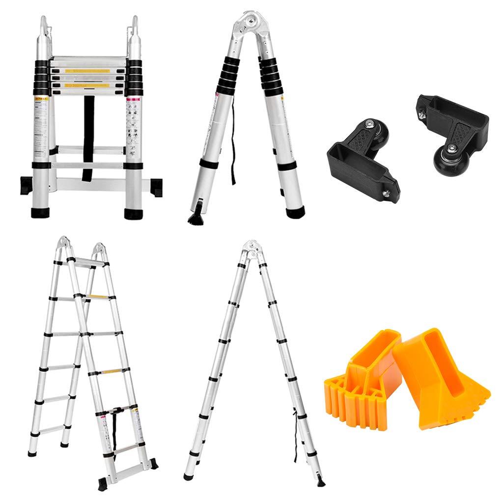 Finether 3.8M Teleskopleiter Klappleiter ausziehbare Leiter ...