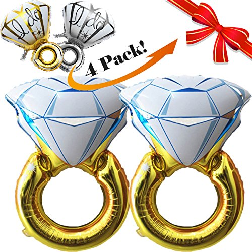 4pcs, Giant 45'' Diamond Wedding Ring Balloons and 'I Do' Engagement Ring Balloons | Premium Quality | Extra Durable Foil and Seam | Setup Items Included | Bachelorette Party Decorations by Zoop Creations