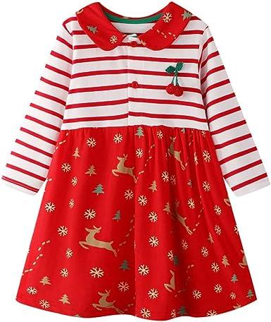 Cotton Kids Baby Girls Dress Unicorn Striped Deer  Long Sleeve Party Tunic Dress